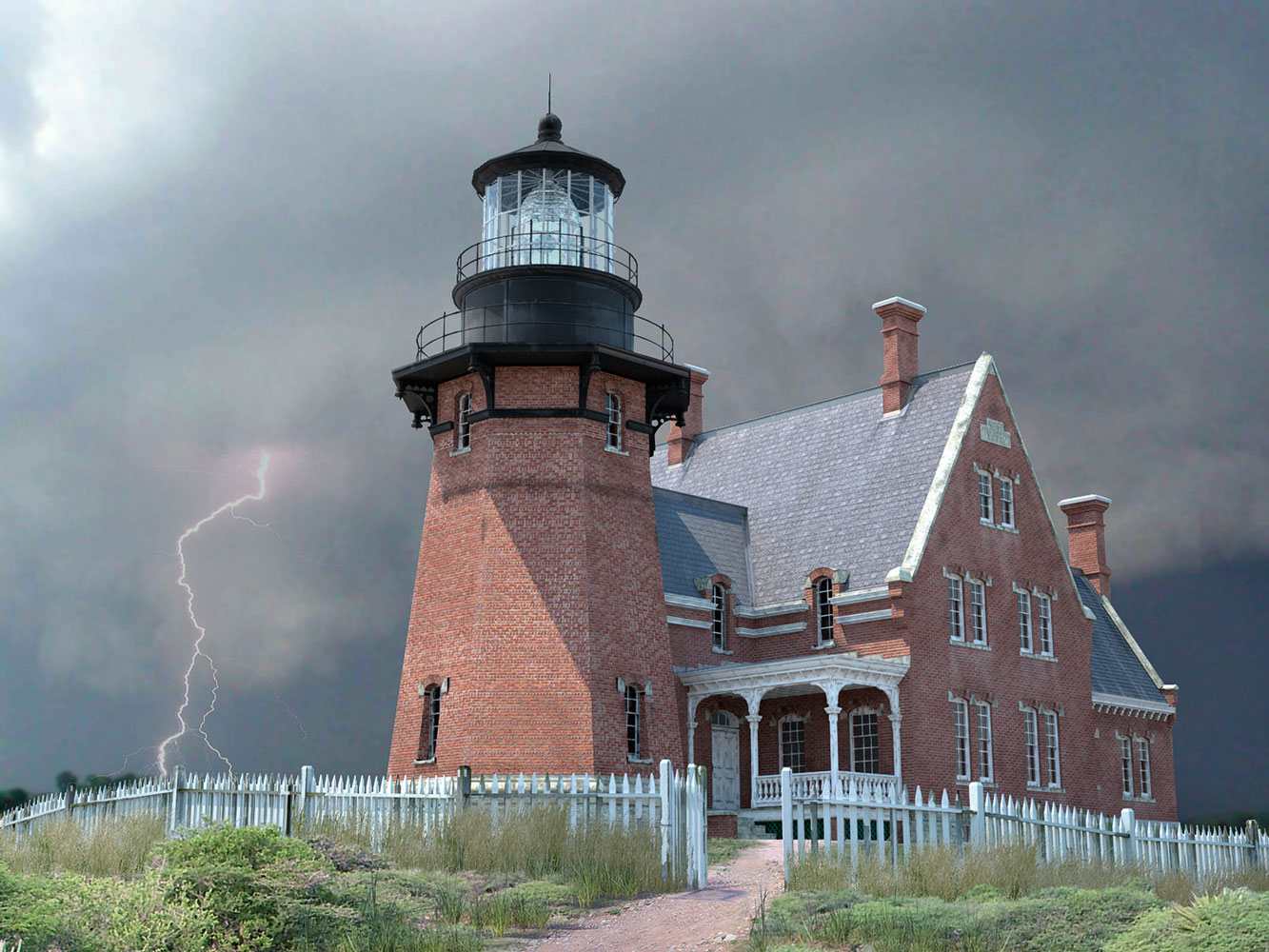 Block Island Southeast Lighthouse Architectural 3d Rendering