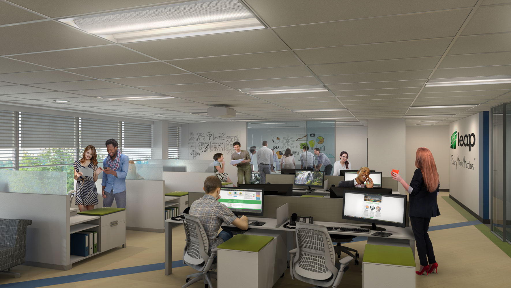 the leap collaborative area architectural 3d rendering