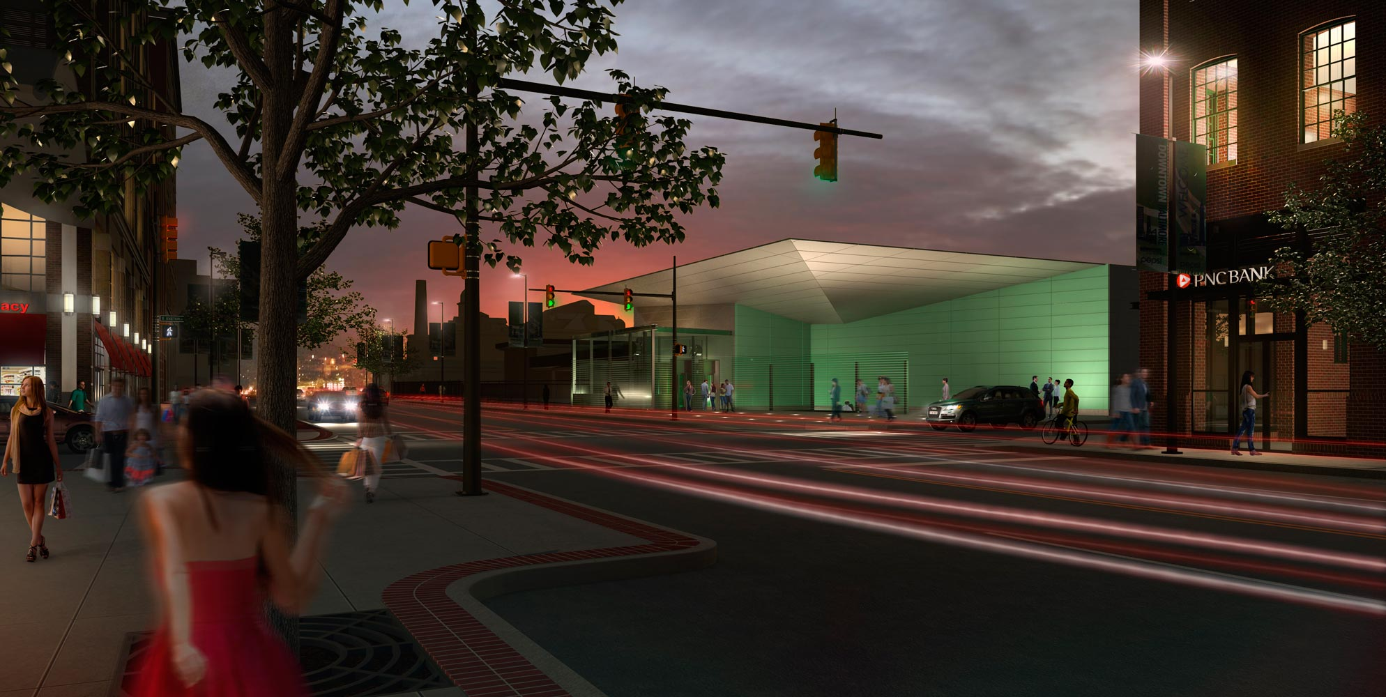 Light Rail Red Line Architectural 3D Rendering